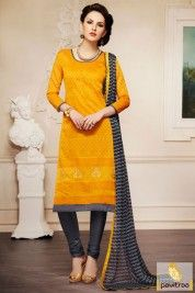 Dark grey and Yellow Color Pure Cotton Salwar Suit #salwarsuit, #casualdress more:http://www.pavitraa.in/wholesale-catalog/