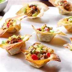 Sausage Wonton Stars Recipe -These fancy-looking appetizers are ideal when entertaining large groups. The cute crunchy cups are stuffed with a cheesy pork sausage filling that kids of all ages enjoy. We keep a few in the freezer so we can easily reheat them for late-night snacking.                                  —Mary Thomas                                  North Lewisburg, Ohio