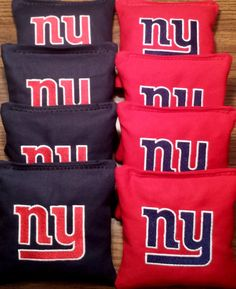 NY giants embroidered corn hole bags outdoor by HandmadebyBryanC