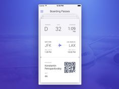 Boarding Passes designed by Elizaveta Mamochkina. Connect with them on Dribbble; Ui Ux Design, Mobile Ui, Boarding Pass, Behance