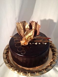 Mirror Glace Birthday Cake with gold decorations Glace Cake, Gold Decorations, Nautical Cake, Birthday Cake, Cakes, Mirror, Desserts, Food, Pies