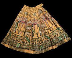 Saul Steinberg Novelty Print Opera Theatre Print Skirt Gold Yellow