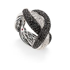 roberto coin rings | Fantasia ring. White gold ring with black and colourless diamonds ...