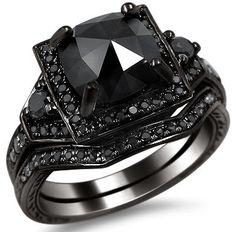2.01ct Black Cushion Cut Diamond Engagement Ring Wedding Bridal Set 14k Black Gold / Front Jewelers
