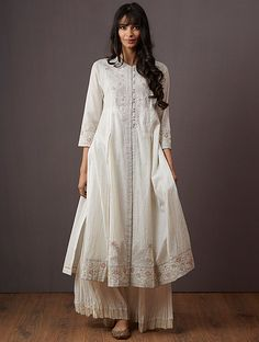 Ivory Embroidered Polyester Kurta with Pants (Set of Pakistani Dresses, Indian Dresses, Indian Outfits, Pakistani Clothing, Indian Clothes, White Kurta, Kurta With Pants, Indian Designer Suits, Pantsuits For Women