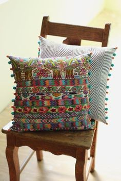 Pillows made with recycled Guatemalan textile + rainbow room Cushion Covers, Pillow Covers, Mexican Bedroom, Guatemalan Textiles, Bohemian Furniture, Upholstered Arm Chair, Blue Fabric, Decorative Pillows, Home Accessories