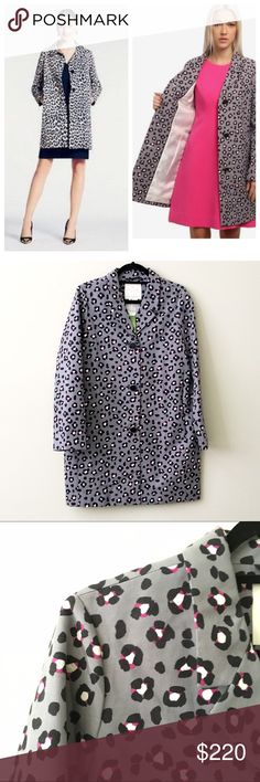 "Kate Spade Cheetah Trench Coat NWT. Kate Spade Gorgeous cheetah print trench coat. Button closures, notched lapel. Full length sleeves, bow decoration at back collar. A Small measures 34"" in length with 32"" sleeve length. This is a M, would fit a size 6 or 8 best. No trades or modeling! kate spade Jackets & Coats Trench Coats"