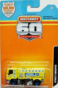 Street Sweeper Truck 2013 MATCHBOX 60th Anniversary Card Yellow/Blue