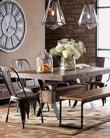"""Industrial"" Dining Table Nieman Marcus    Dining table, bench, and sideboard are handcrafted in the USA from black steel and reclaimed demolition hardwoods with a natural wax finish.  Table, 72""W x 41""D x 30""T."