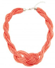 Collier Tresse de Perles Couleur Corail. I think I could do this. I've been wanting to make a chunky multi strand seed bead necklace.