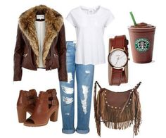 ~My Polyvore outfit~ River Island Black leather-look faux fur biker jacket, Frame Denim Le Garcon Boyfriend Jeans - Richmond Distressed, Nixon Kenzi Wrap Watch, Liquorish Brown Fringed Cross Body Bag With Studs, Starbucks Coffee #RiverIsland #Starbucks #BoyfriendJeans #Leather #BikerJacket #AnkleShoes