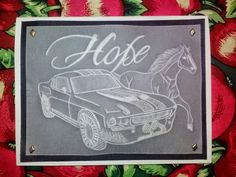 Love the horse...love the car! My own creation for my favorite guy. Made from vellum/pergamano and paper piercing