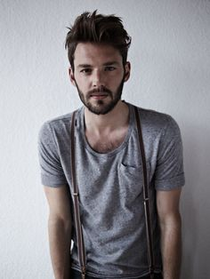 Perfect beard with suspenders. there you go, thats my ideal guy. kind face, skinny but not scrawny, thick hair, and nice beard