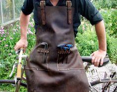 Leather Work Apron top pocket plus tool loops door CyclonaDesigns
