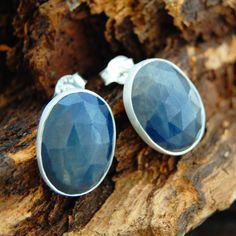 Azure Blue Precious Sapphire Sterling Silver Stud Earrings.
