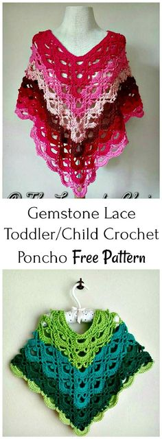 Crochet Gemstone Lace Toddler/Child Poncho - 20 Free Crochet Summer Poncho Patterns for Women's - DIY & Crafts