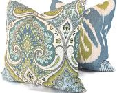 Color Trend 2013 Dusk Blue - Lime Green and Blue Ikat Pillow Cover  18x18, 20x20 or 22x22