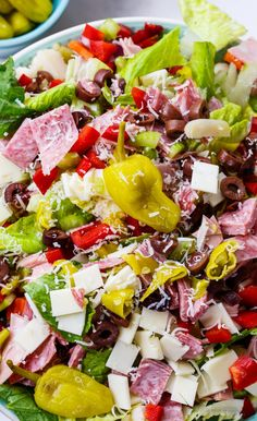 Muffaletta Salad with lots of meat, cheese, and olives.