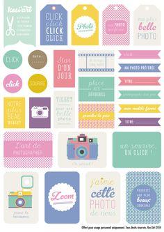 #Printable réalisé pour la marque de loisirs créatifs © Kési'art : une planche d'étiquettes à télécharger et imprimer ! Sur le thème de la photographie - Amélie Poirier poirieramelie.blogspot.fr