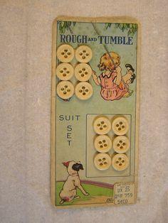 ButtonArtMuseum.com - Outstanding Original Card of 12 Bovine Bone Buttons Great Graphics