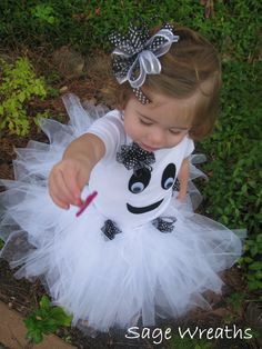 Toddler Girl Ghost Costume with Tutu and Bow. $59.50, via Etsy.