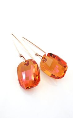 Rose Gold Filled Swarovski Astral Pink Crystal Drop Earrings - hand wired earrings, long earrings, love, quirky, wire, handmade -www.colormemissy.com
