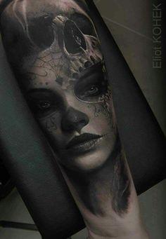 Eliot Kohek added a new photo. Catrina Tattoo, Clown Tattoo, Scary Tattoos, Witch Tattoo, Face Tattoos, Great Tattoos, Girl Tattoos, Tattoos For Guys, Sleeve Tattoos
