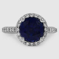 Platinum Sapphire Halo Diamond Ring with Side Stones // Set with a 8mm Premium Blue Round Sapphire (From Unique Colored Gemstone Gallery) #BrilliantEarth