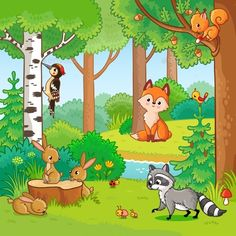 Buy Vector Illustration with Cartoon Animals. Vector illustration with cartoon animals in the forest. Set of animals. Nature Drawing For Kids, Drawing Lessons For Kids, Cartoon Pics, Cartoon Drawings, Easy Drawings, Cartoon Characters, Exam Pictures, Forest Drawing, Cartoon Network