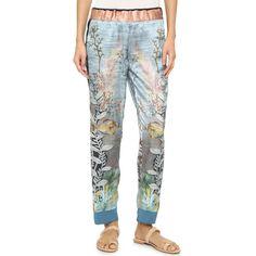 Giada Forte Silk Print Pants ($480) ❤ liked on Polyvore featuring pants, onda, stretch waist pants, silk pants, silk trousers, slouch pants and silk print pants