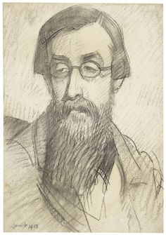 From David Bowie Collection: Lamb, Henry     Study for Portrait of Lytton Strachey     work on paper     sotheby's l16142lot6nrslen