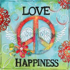 Love Peace Happiness ~ Children's Wall Art ~ Teen Art ~ Peace ~ Girls Room ~ Teen Decor ~ Art Print is part of Happy children Art - print~The watermark does not appear on the actual print ~Ships within one week of payment Paz Hippie, Hippie Peace, Hippie Love, Hippie Chick, Hippie Kids, Hippie Bohemian, Hippie Style, Peace On Earth, World Peace