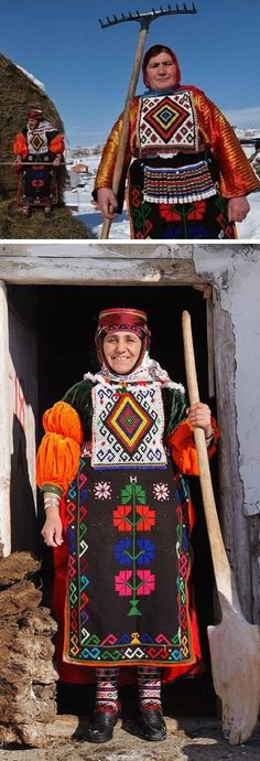 Traditional daily costume from the Damal district (Ardahan province). Late 20th century, and still in use. Ethnic group: Dadali Türkmen, Alevi.