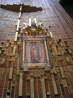 Our Lady of Guadalupe -original Tilma of Saint Juan Diego which hangs above the alter of the Guadalupe Baslica Mexico City.