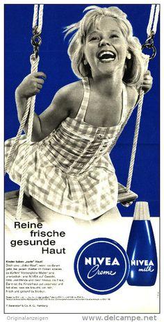 Original-Werbung/Inserat/ Anzeige 1964 - GROSSFORMAT - NIVEA CRÈME / NIVEA MILK - ca. 175 x 340 mm