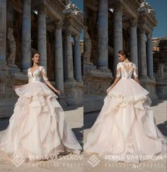 Light Champagne Wedding Dresses Elena Vasylkova 2017 With Tiered Skirt And Half Sleeves Ball Gown Vestidos De Novia Buttons Back Princess Ball Gown Wedding Dress Tulle Ball Gown Wedding Dress From Grace2, $144.38| Dhgate.Com