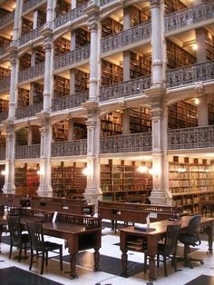 Beautiful Libraries and Bookshops...The George Peabody Library, Baltimore, Maryland, photo by Thomahawk1 via Flickr.