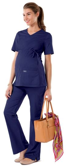 Cherokee Scrubs Workwear Core STRETCH Maternity V-Neck Knit Panel Top http://www.medicalscrubsmall.com/