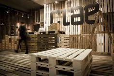 Clae Pop-up Shop | Reclaimed wood pallet motif