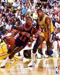 Isiah Thomas (Detroit Pistons) and Magic Johnson