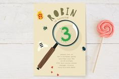 Birthday Bug Children's Birthday Party Invitations by Baumbirdy at minted.com