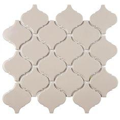 Kitchen back splash: Merola Tile Metro Lantern Glossy Taupe Grey in. x 6 mm Porcelain Mosaic Tile-FDXMLGG - The Home Depot Ceramic Mosaic Tile, Mosaic Wall Tiles, Glazed Ceramic, Mosaics, Marble Mosaic, Arabesque Tile, Arabesque Pattern, Online Tile Store, Old World Style