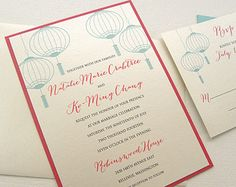 Lantern Wedding Invitations - Chinese Hanging Paper Lanterns Invitation in Tiffany blue / Aqua & Red or any colors