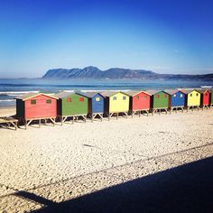 The iconic bathing boxes at Muizenberg Beach. Photo by Instagram user @Holly Brett