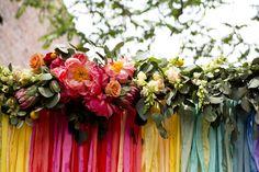 Rainbow Ribbon + Floral Backdrop / The NotWedding Kansas via Ruffled