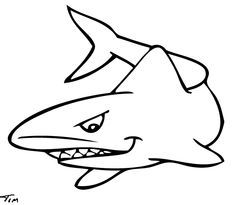 Free drawing of 1 Gray Shark BW from the category Fish - TimTim.com