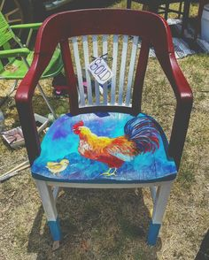 Rooster Chair, Acrylic, Hand Painted