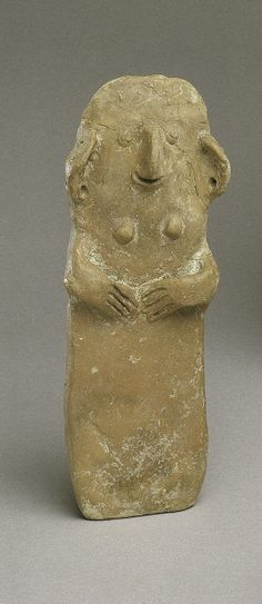 Terracotta plank-shaped figurine Period: Middle Cypriot I Date: ca. 1900–1800 B.C. Culture: Cypriot