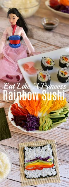 These easy veggie rainbow sushi rolls are perfect for kids! Eat Like A Princess - Mulan Inspired Recipe via Vegan Sushi) Vegetarian Meals For Kids, Healthy Meals For Kids, Kids Meals, Vegetarian Recipes, Whole30 Recipes, Healthy Recipes, Vegetable Recipes For Kids, Cooking With Kids Easy, Kids Cooking Recipes