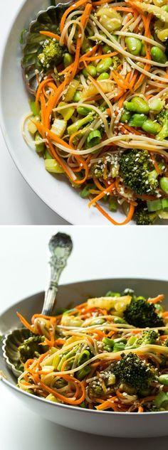 Veggie 'n Brown Rice Noodle Bowl with Homemade Teriyaki Sauce